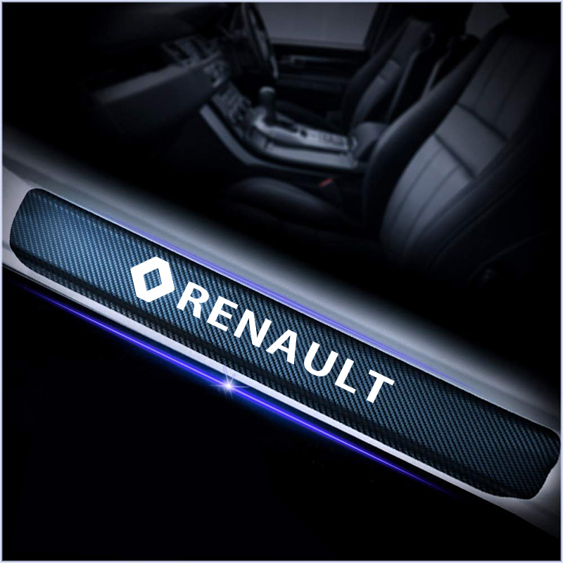 4Pcs Car Door Carbon Fiber Vinyl Door Sills Stickers For Renault Megane 2 3 Duster Logan Clio Laguna 2 Captur Car Accessories