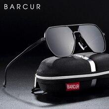 BARCUR gafas de sol cuadradas minimalistas de aluminio y magnesio para hombre, lentes de sol para dama
