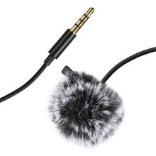 PULUZ 3m 3.5mm שקע Lavalier Wired הקבל הקלטת מיקרופון עם פרווה שמשות כובע