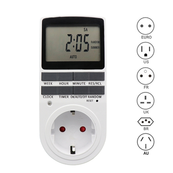 цена на Electronic Digital Timer Switch EU US FR BR Plug Kitchen Timer Outlet 230V 110V 7 Day 12/24 Hour Programmable Timing Socket