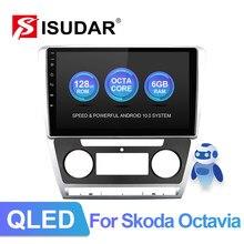 Isudar v72 qled android 10 rádio para skoda octavia a5 2009 2010 2012 2013 gps carro multimídia ram 6gb canbus 4g dsp usb nenhum 2din
