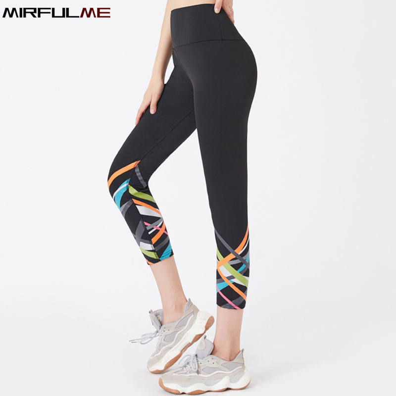Sport Leggings Women Cropped Yoga Pant Stripe Print Elastic High Waist Capris 3/4 Running Trouser Female Crop Gym Fitness Tights