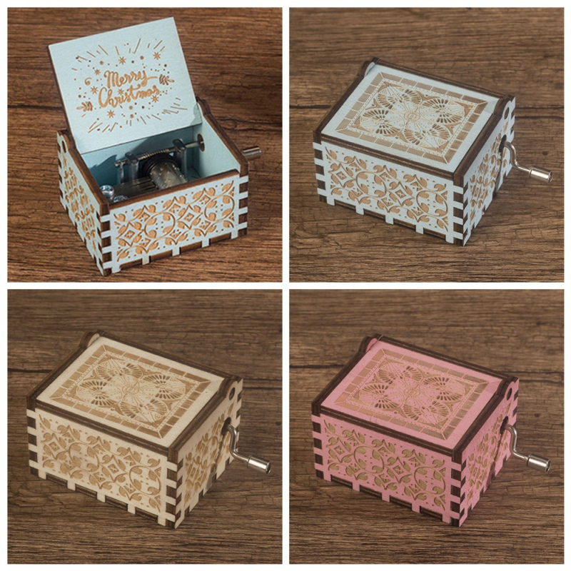 HOT Music Box For Kids Friends Antique Carved  Hand Crank Music Boxes Classic Theme Castle In The Sky Christmas Birthday Gift