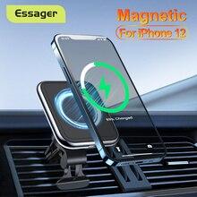 Essager Qi magnetyczna bezprzewodowa ładowarka samochodowa do iPhone 12 Pro max 15W indukcyjna uchwyt samochodowy do telefonu szybka bezprzewodowa ładowarka samochodowa