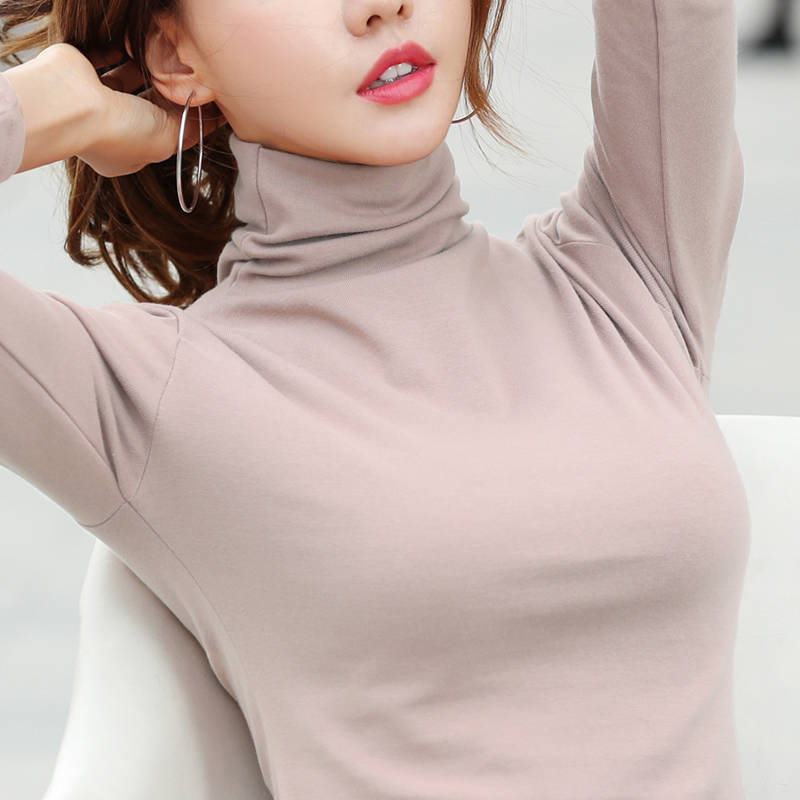 New Women Spring And Autumn Korean Edition Sweater Casual Turtleneck Female  Warm Soft Fit And Show Thin Cotton
