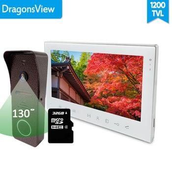 [زاوية واسعة] Dragonsview الجرس إنترفون فيديو باب الهاتف مع شاشة 7 بوصة سجل إفتح الأمن الرئيسية كيت التحكم في الوصول