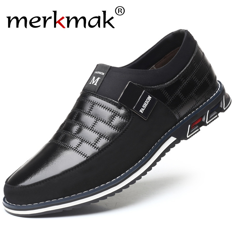 Merkmak New Big Size 38-48 Oxfords Leather Men Shoes Fashion Casual Slip On Formal Business Wedding Dress Shoes Drop Shipping