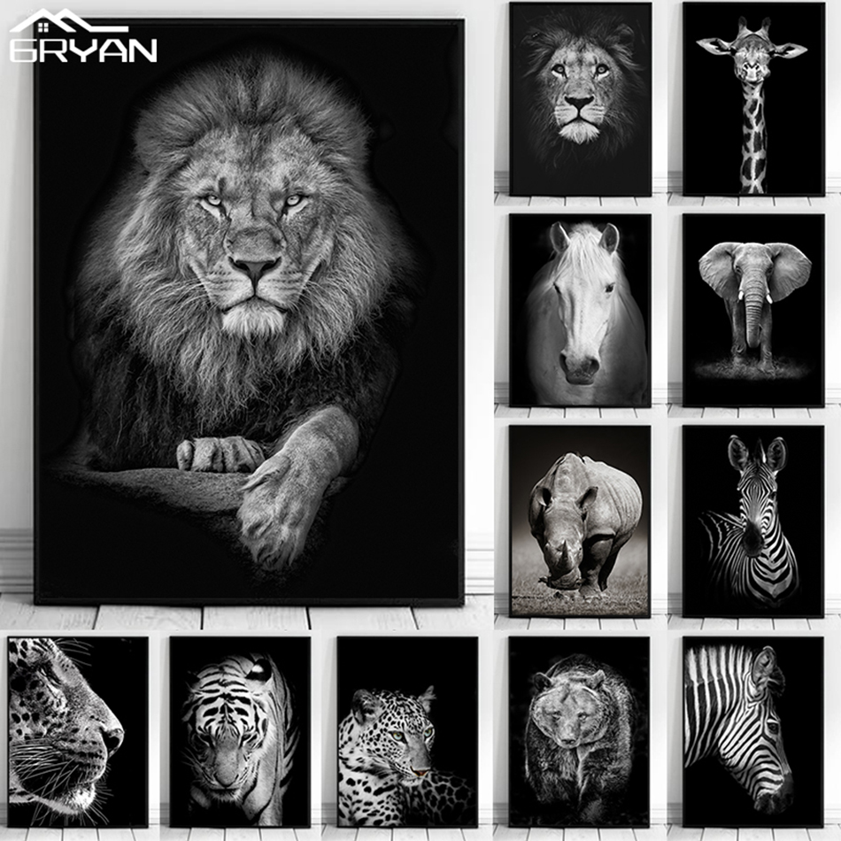 Black and White Elephant Zebra Giraffe Tiger Lion Wall Art Posters Animal Canvas Print Paintings Picture for Living Room Bedroom