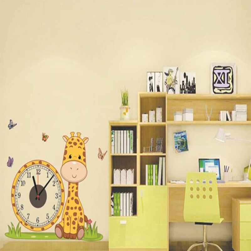 Creative Wall Clock Giraffe Electron Wall Clocks Wall Sticker Wallpapers Hanging Clock Home Decor Living Room Children Bedroom(China)