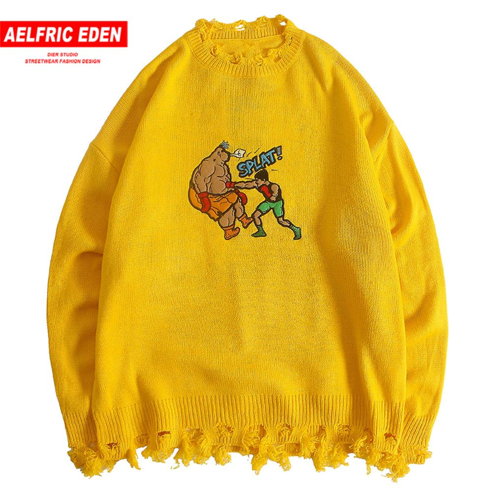 Aelfric Eden Funny Comic Print Knitted Pullover Sweater Men 2019 Harajuku Streetwear Autumn Winter Fashion Ripped Casual Sweater