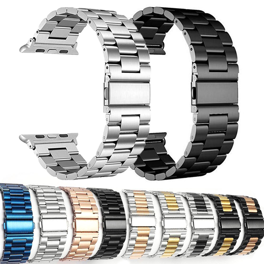 Stainless Steel Strap For Apple Watch 42mm 38mm 4 3 2 1 Metal Watchband Three Link Bracelet Band For IWatch Series 4 5 40mm 44mm