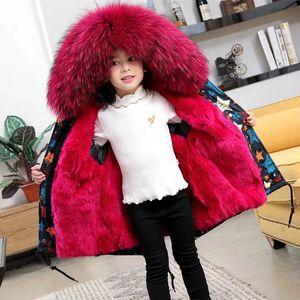 Image 3 - Parkas de piel Natural para niños, chaqueta con diseño de grafiti, chaquetas de piel para niños, ropa cálida para niñas, forro de piel de conejo desmontable