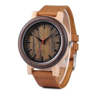 Image 1 - BOBO BIRD Wood Watch relogio masculino Men Fashion Quartz Clock Wood Watches Leather Strap Quartz Wristwatches in Sales Deal