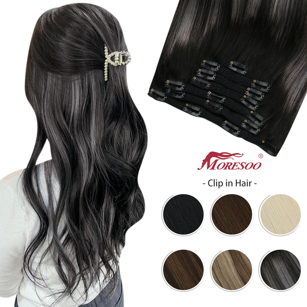 Moresoo Clip in Hair Extensions Real Human Hair Balayage 10-24 Inch Double Weft Hairpiece for Women Natural Machine Remy Clips