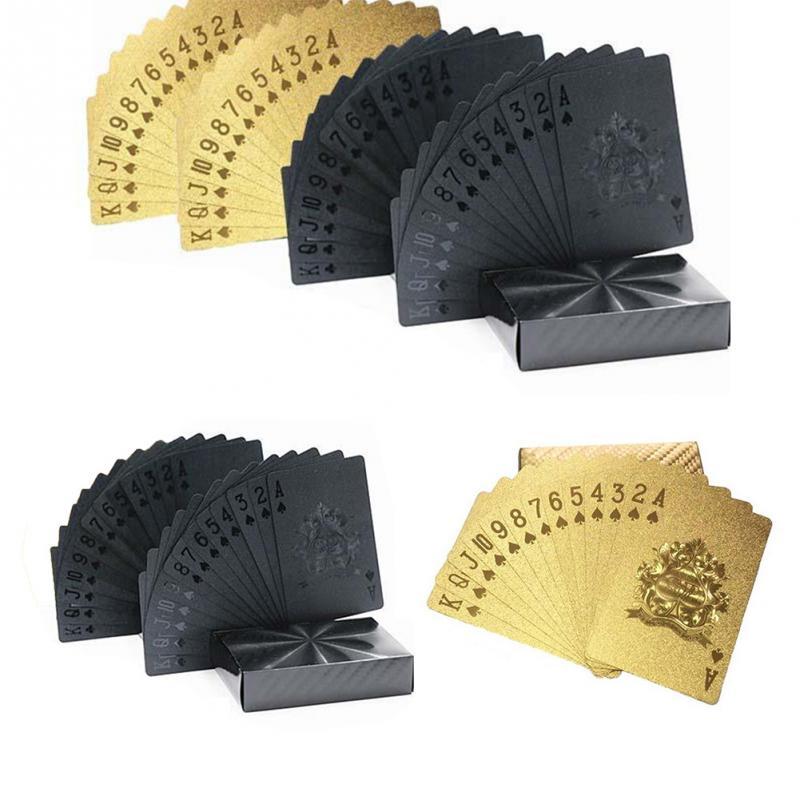 Водонепроницаемая Золотая фольга, покерные карты, креативные черные золотые коллективные игральные карты, алмазные карты для покера + 7 сторонних/1 набор, прозрачные кости|Игральные карты|   | АлиЭкспресс