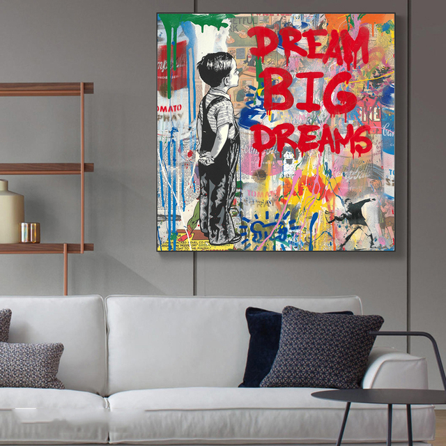 Dream Big Dreams Graffit Painting Printed on Canvas 3