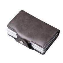 Crazy horse duplo couro de alumínio titular do cartão de crédito rfid carteira automática pop up anti-roubo bolsa negócio id titular do cartão