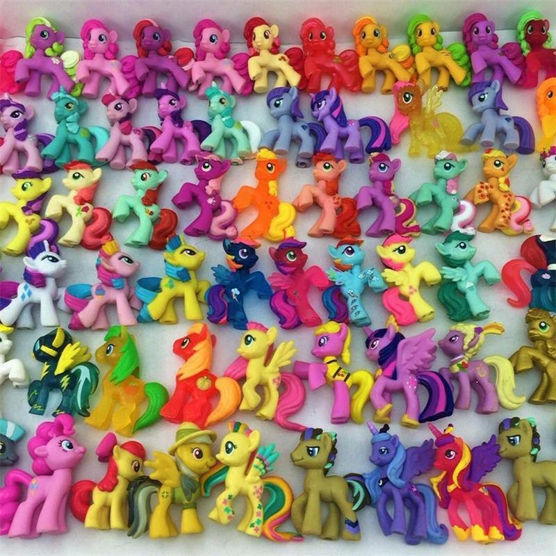 BIXE Lot Rainbow Horse Pvc Unicorn Cute Ponis Horse Action Figures Dolls For Girl Birthday Xmas Gift
