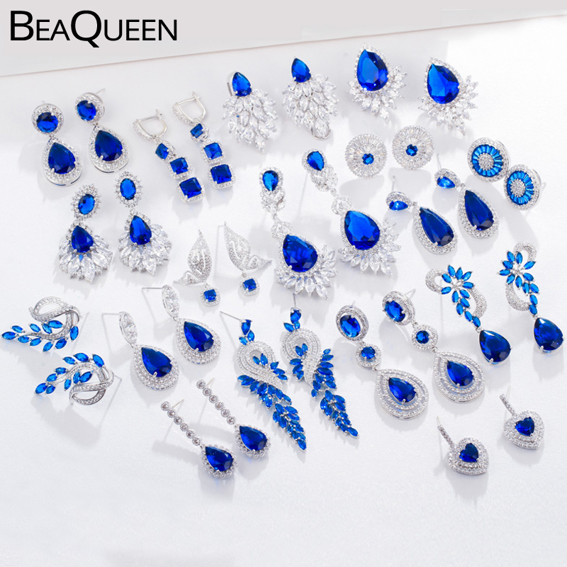 BeaQueen листья цветок каплевидный кубический циркон Королевский ЮВЕЛИРНЫЙ Большой темно-голубой фианит длинные свисающие свадебные серьги д...