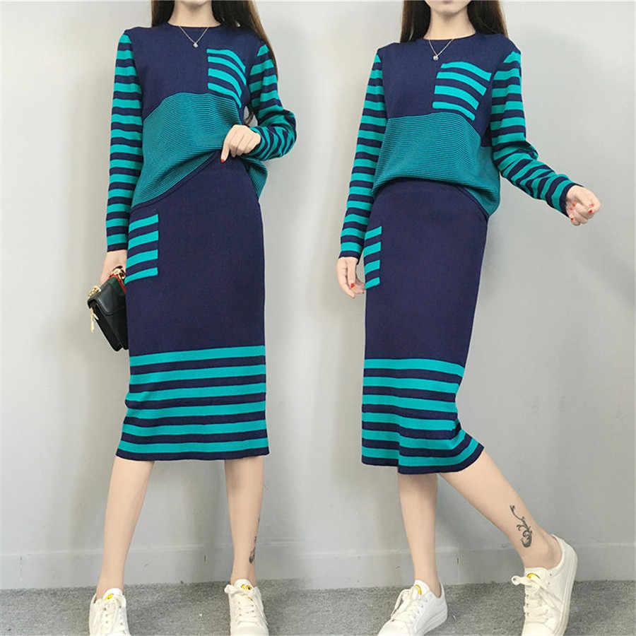 Nowy 2020 zima dzianiny Womans garnitury gruby luźny sweter + zestawy ołówkowych spódnic dla kobiety dorywczo panie dwuczęściowy garnitur jakości