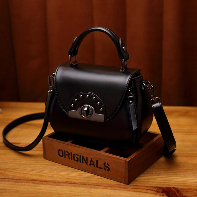 Women's Handbag Retro shoulder bag Luxury Design Women's Bag Female Messenger Bag Rivet fashion bags solid color