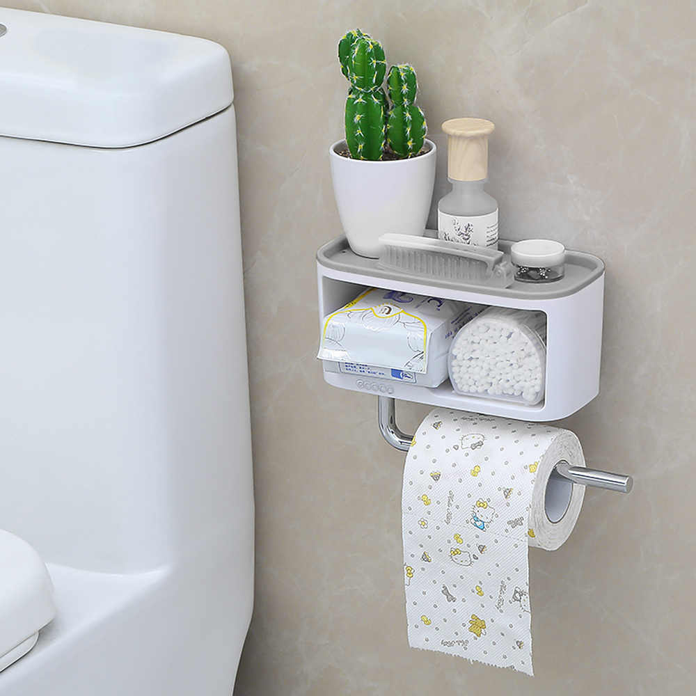 ECOCO Wall-Mounted Bathroom Storage Shelve Box with Towel Bar Sundries Storage Holder kitchen Storage Box Rack ABS+PS