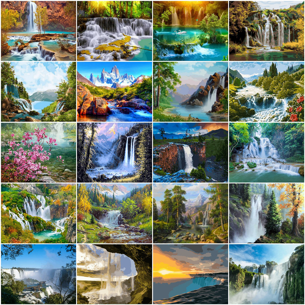HUACAN Painting By Numbers Landscape Drawing On Canvas HandPainted Gift Picture By Number Waterfall Kits Home Decoration