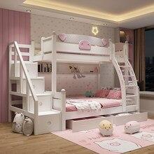 Toda a madeira maciça cama alta e baixa cama das crianças menina princesa cama multi-funcional de madeira maciça cama dupla camada de solteiro