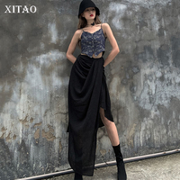 XITAO High Waist Black Skirt Women Korea Fashion New Irregular Elegant 2019 Autumn Wind Cold Pleated Street Style Skirt GCC1706