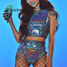 Women Colorful Holographic Bodycon 2 Piece Playsuits Festival Sexy Rave Clothes Wear Outfits Nightcl