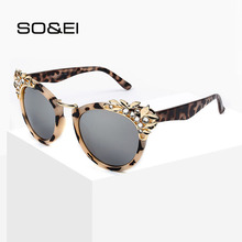 SO&EI Fashion Luxury Rhinestone Cat Eye Sunglasses Women Brand Designer Personality Mirror Men Sun Glasses Sunshade UV400 Gafas