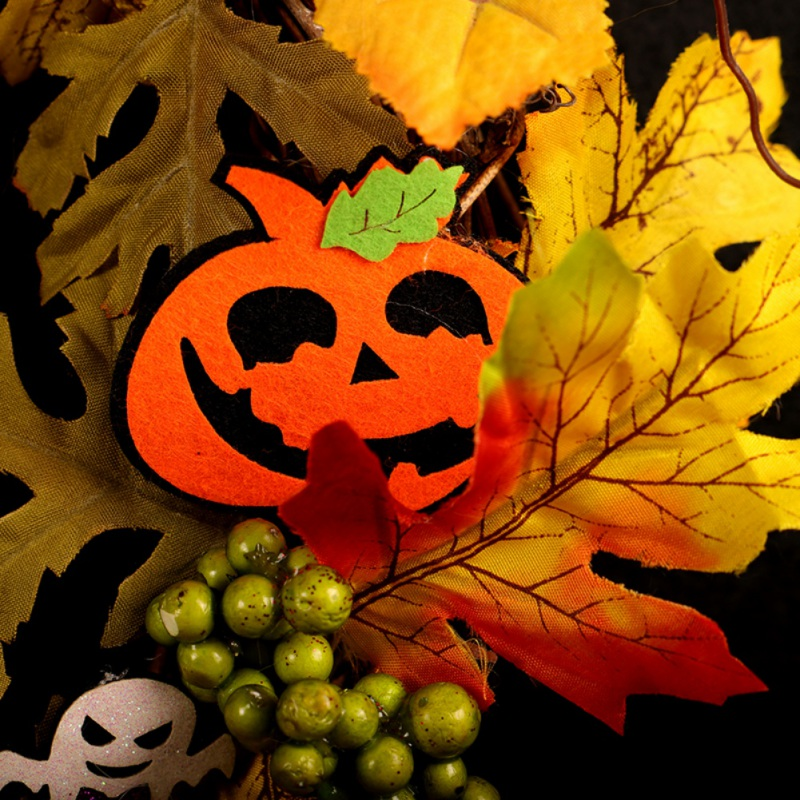 Artificiale Halloween Corona Anteriore Porta Hanging Ghirlanda di Festa Decorazioni per La Casa (con Alimentato a Batteria Stringa di Luce a Led) - 3