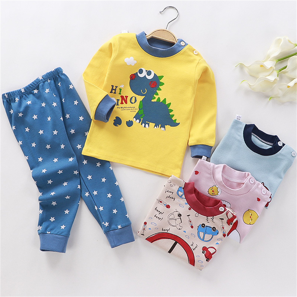 High Quality Autumn Cotton Children Sleepwear Cartoon Pajamas Outfits Suits Toddler Baby Christmas Gifts Children Set Wholesale