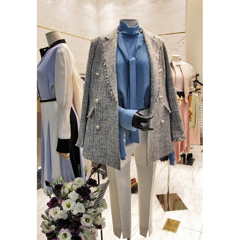 Spring  Autumn New Korean Version Small Fragrance Wind Coat Stripes Classic Double-breasted Long Female Small Women's Blazers