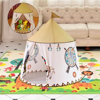 Namiot dla dzieci dom przenośny zamek księżniczki 123*116cm obecny Hang Flag tipi dla dzieci namiot Play namiot urodziny prezent na boże narodzenie tanie i dobre opinie Poliester CN (pochodzenie) Please keep the kids tent far away from fire 0-12 miesięcy 13-24 miesięcy 2-4 lat 5-7 lat 6 lat