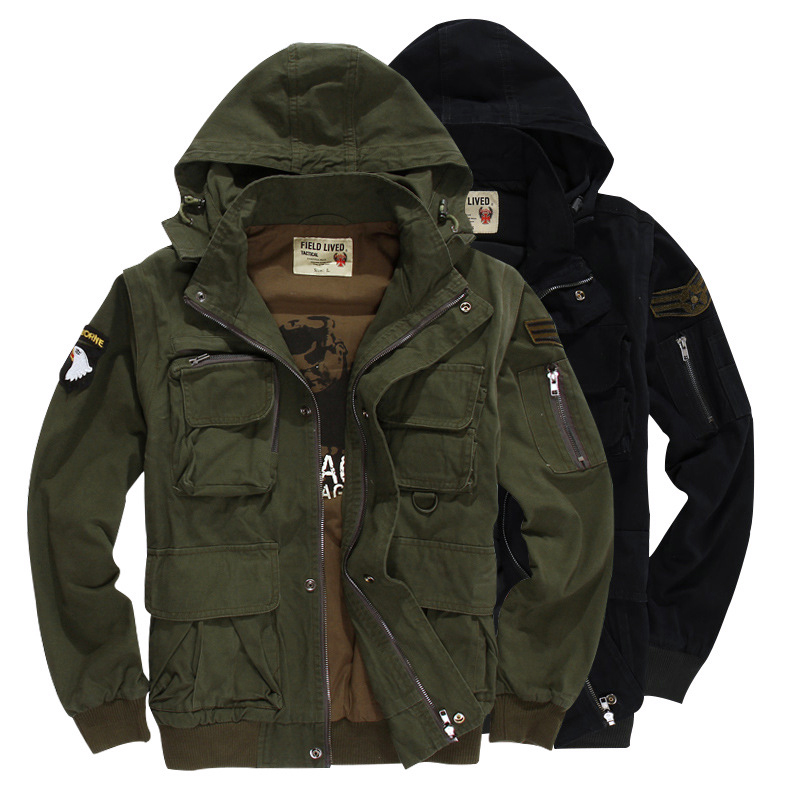 Detachable Sleeve Multi Pocket Windbreaker Vest Outdoor Sports Warm Cotton Army Training Tactical Jacket Coat Military Clothes