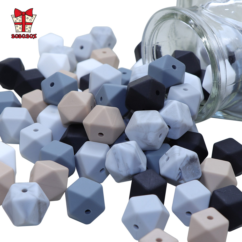 BOBO.BOX 30pcs 14mm Hexagon Silicone Beads Food Grade Silicone Baby Teether BPA Free Baby Teething Pacifier Chain Beads Pendant
