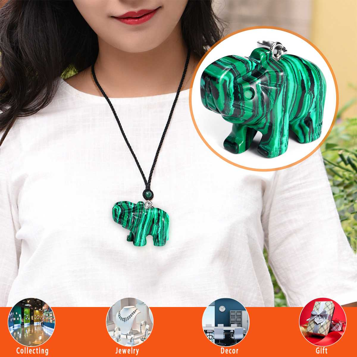 Hand Carved Malachite Elephant Necklace Pendants Beads Ornament Jewelry Decor Elephant Statue Statues & Sculptures Home Jewelry
