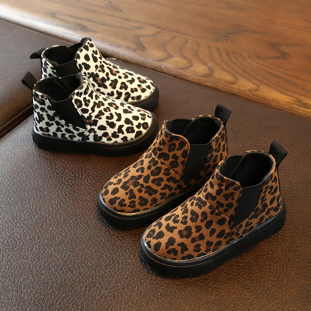 Soft Snow Toddlers Ankle Winter Children Kids Baby Girls Boys Leopard Print Warm Short Boots Casual Shoes Anti-slip Shoes