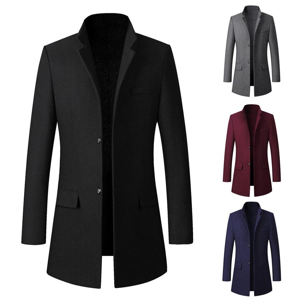Autumn Winter New Fashion  Men's Casual Trench Coat Fashion Business Long Slim Overcoat Jacket Outwear Woolen Coat Free ShipZ4
