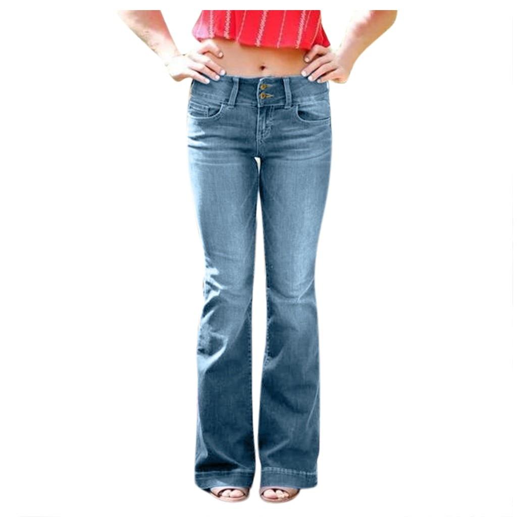 New Fashion Women Destoryed Flare Jeans Skinny Jeans Woman Waist Bell Denim Pants Boyfriend Jeans For Women Spodnie Damskie