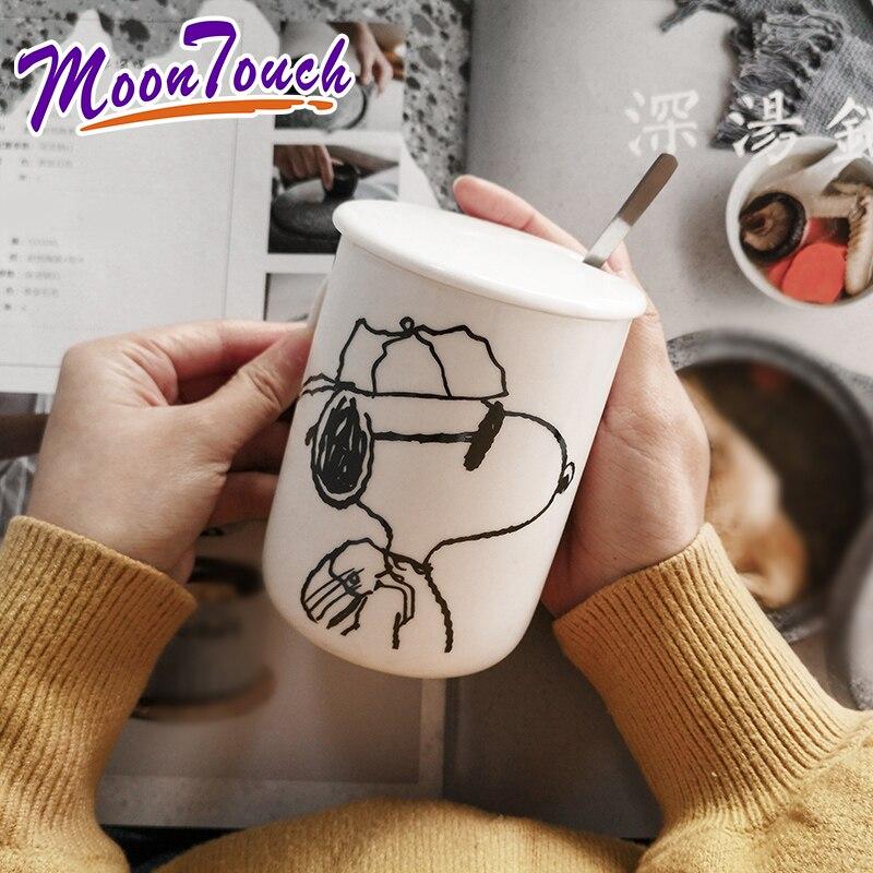 301-400ml Snoopy cartoon s handgemachte einfache Japanischen stil kaffee tasse keramik tasse becher mit deckel löffel wasser glas milch tasse