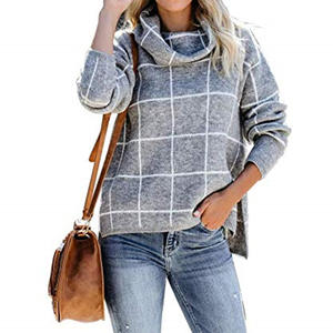 2020 Ins Winter New Women's Pullovers Sweater Fashion Plaid Turtleneck Loose Knit Full Sleeve Casual Jumper Tops свитер обьемный