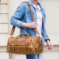 Men Genuine Leather Travel Duffel Bag With Shoe Pocket 20 Real Leather Weekend Bag Vintage Crazy Horse leather Messenger Bag