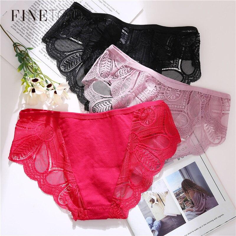 Sexy Lace Women Panties 3Pcs Floral Briefs For Girls Cotton Low Waist Underwear Female Panty 7 Colors Transparent Underpants New