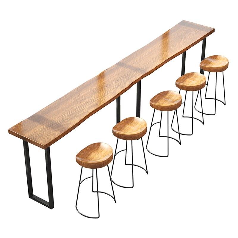 Bar Table, Solid Wood Milk Tea Shop,  Chair, Bar, Coffee  Leisure  Taipei European  Table Against The Wall,