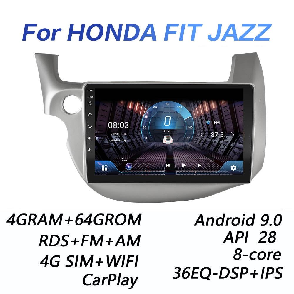 Автомагнитола 4G + 64GROM для HONDA FIT JAZZ 2008 2009 2010 2011 2012 2013 DSP 2 din Android 9,0 4G NET, мультимедийный видеоплеер BT