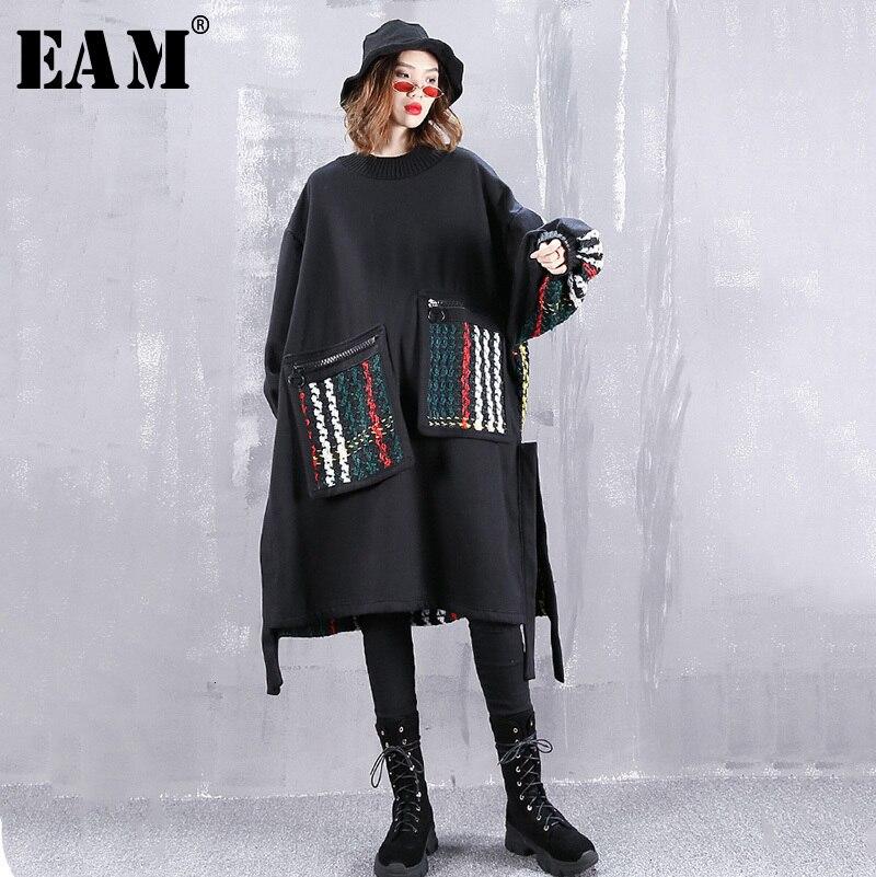 [EAM] Women Colorful Pocket Big Size Sweatshirt Dress New Round Neck Long Sleeve Loose Fit Fashion Tide Spring Autumn 2020 1H257