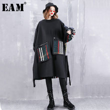 [EAM] Women Colorful Pocket Big Size Sweatshirt Dress New Round Neck Long Sleeve Loose Fit Fashion Tide Spring Autumn 2019 1H257(China)