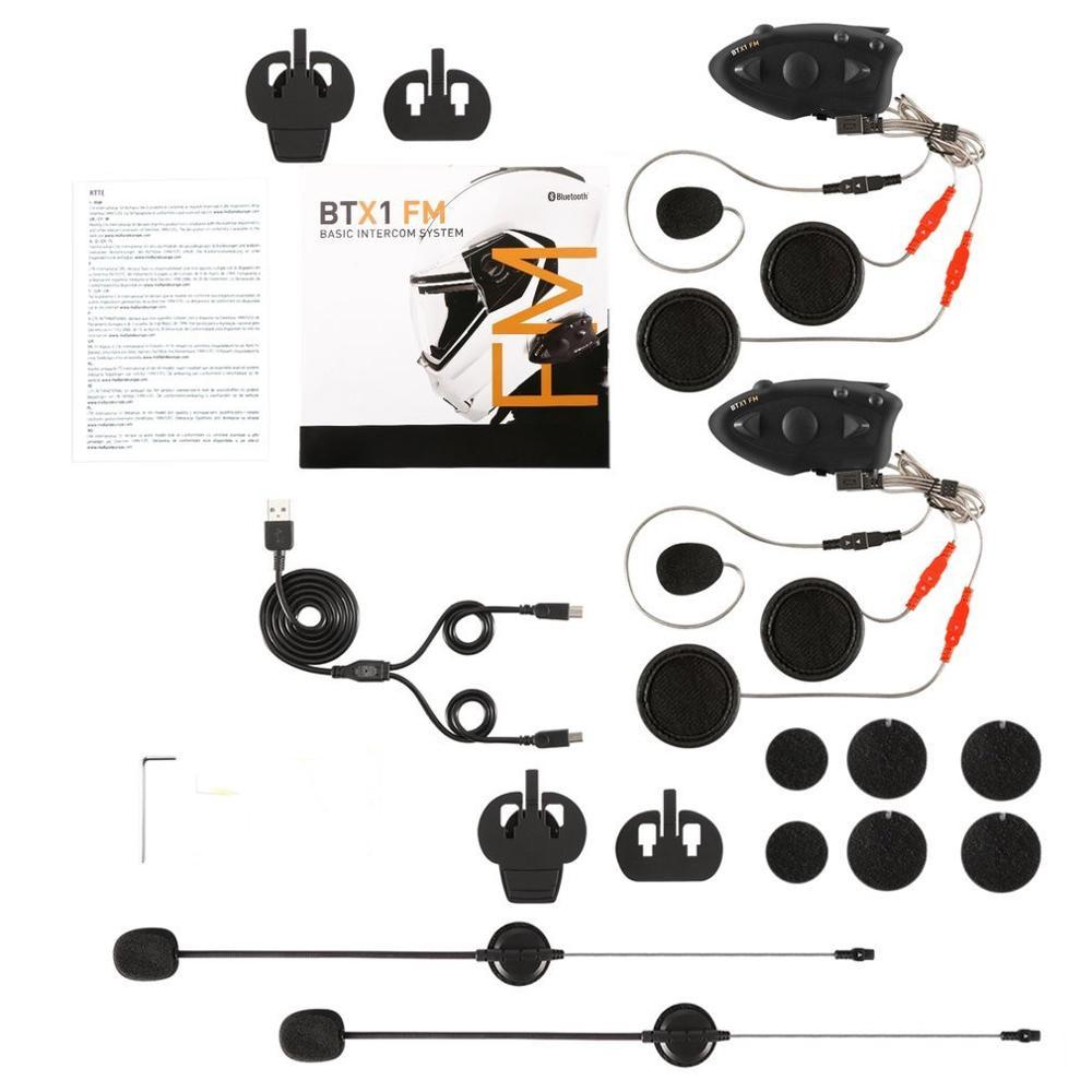BTX1 FM Black Durable Motorcycle Helmet Headset Intercom Hands-free Interphone FM Rider-to-Passanger Intercom